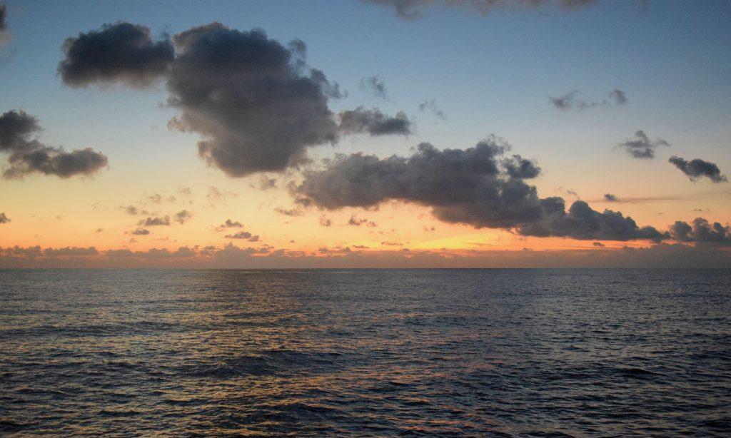 Sunrise over the Celebes Sea.