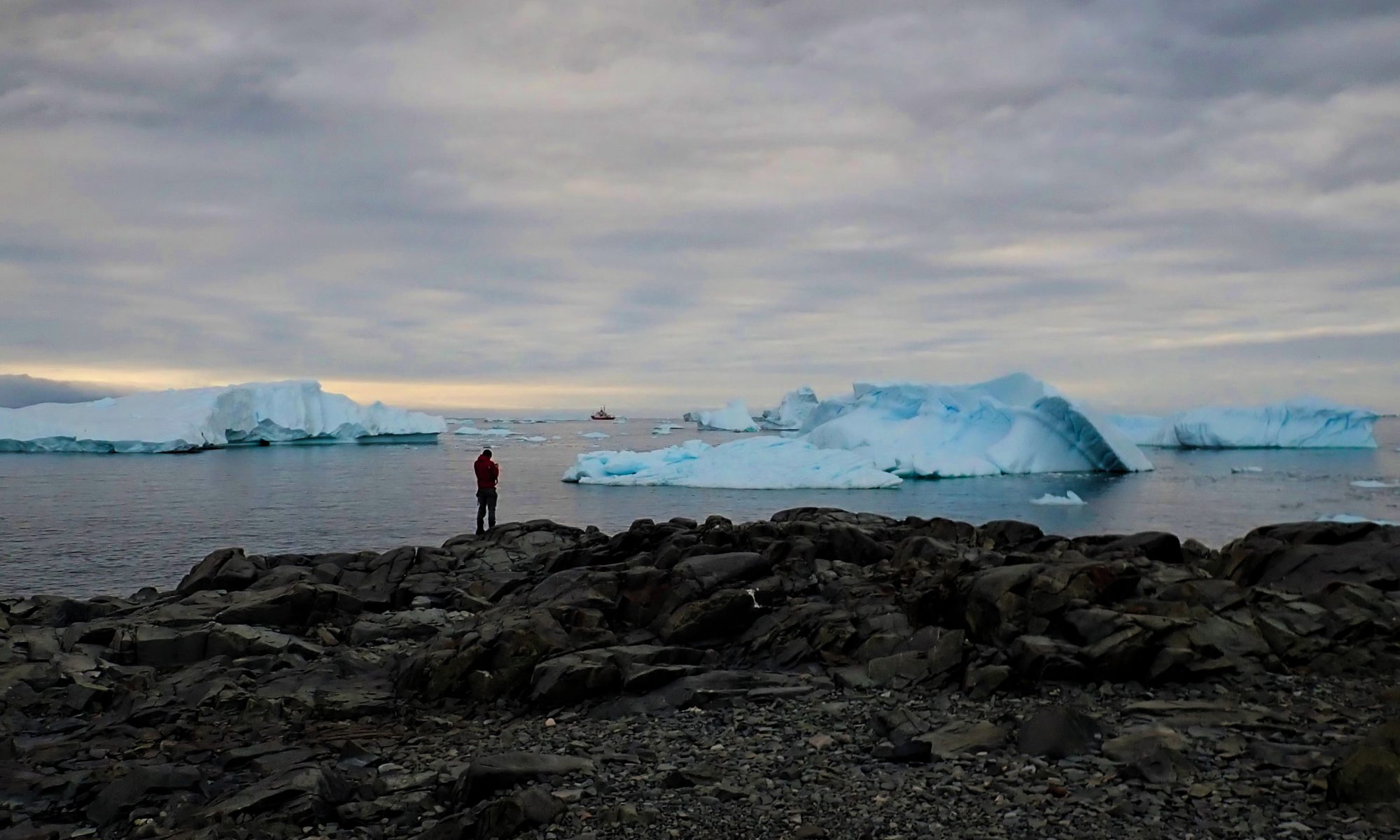 A photo of strikingly blue icebergs floating in the bay, with grey rocks in the foreground and dark, moody skies.